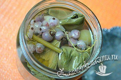 Рецепт маринованных огурцов в виноградных листьях