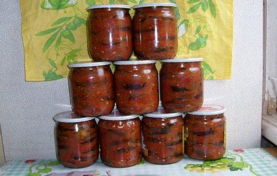 Баклажаны с томатным соком на зиму