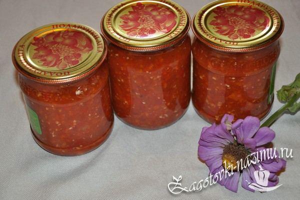 Острая аджика из помидор и чеснока