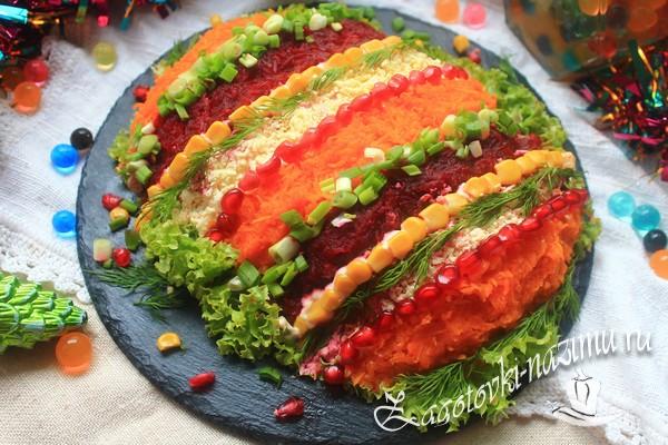 Салат «Новогодняя хлопушка» рецепт с фото пошагово