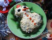 Салат «Снеговик» рецепт с фото с курицей и грибами